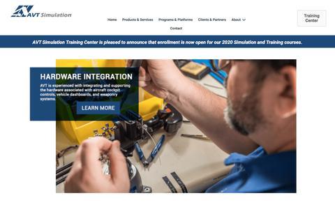 Screenshot of Home Page avtsim.com - Home   AVT Simulation - captured Nov. 10, 2019