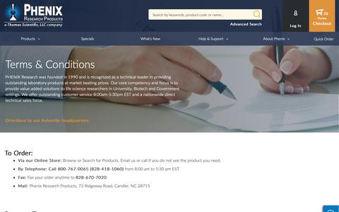 Screenshot of Terms Page phenixresearch.com - Terms & Conditions - captured Sept. 27, 2018