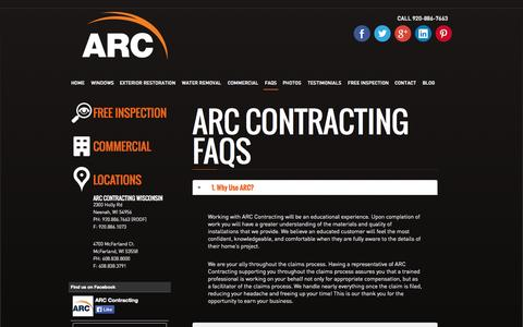 Screenshot of FAQ Page arccontracting.com - FAQs | FAQ's For Your Contractor | ARC Contracting - captured Oct. 4, 2014