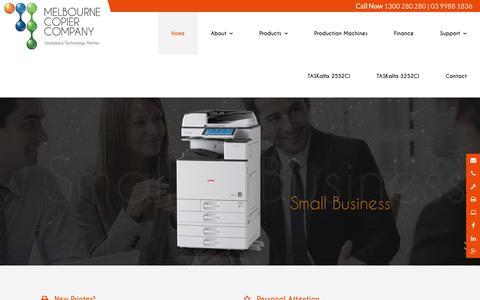 Screenshot of Home Page melbournecopiers.com.au - Melbourne Copier Company VIC | Printing - captured Jan. 6, 2017