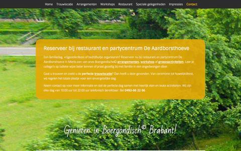 Screenshot of Contact Page aardborsthoeve.nl - Contact restaurant en partycentrum De Aardborsthoeve in Mierlo - captured Jan. 25, 2016