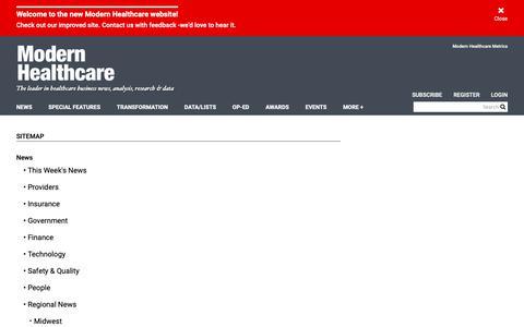 Screenshot of Site Map Page modernhealthcare.com - sitemap | Modern Healthcare - captured Feb. 28, 2019