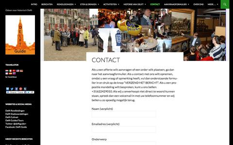 Screenshot of Contact Page delft-guide.nl - Contact met Delft Guide | delft-guide.nl - captured Aug. 1, 2016