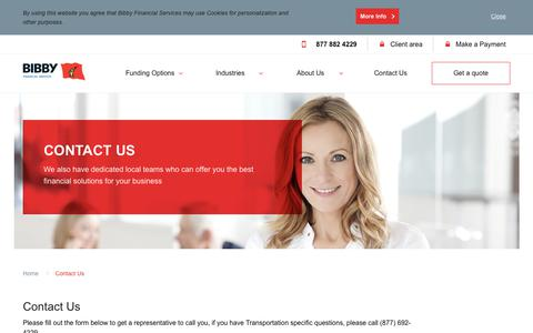 Screenshot of Contact Page bibbyusa.com - Contact Us | Bibby Financial Services USA - captured May 18, 2019