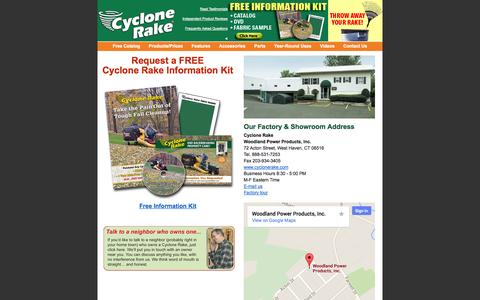 Screenshot of Contact Page cyclonerake.com - How to contact Woodland Power Products manufacturer of the Cyclone Rake lawn vacuum landscaping and lawn care trailer - captured Oct. 26, 2014
