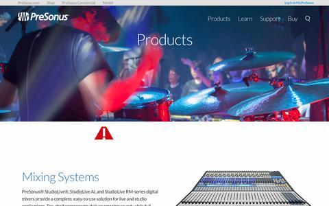 Screenshot of Products Page presonus.com - Products   PreSonus - captured June 28, 2017