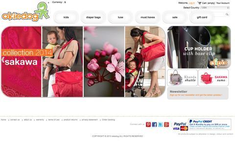 Screenshot of Home Page okiedog.us - Diaper Bag   Buy Baby Accessories Online In USA – Okiedog - :: okiedog-us :: - captured Feb. 13, 2016