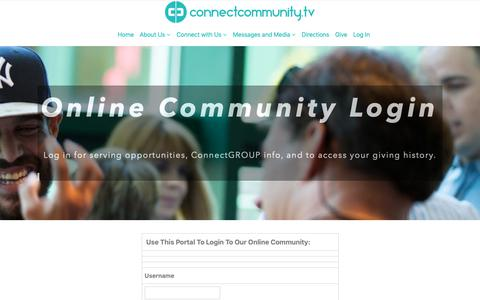 Screenshot of Login Page connectcommunity.tv - Log In - ConnectCommunity.tv - captured Sept. 29, 2018