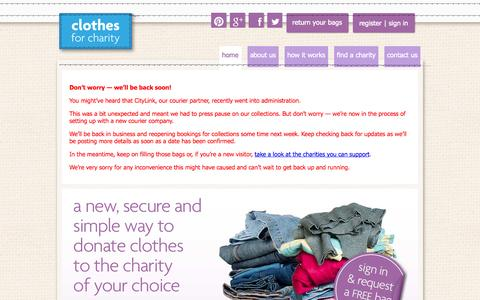 Screenshot of Home Page clothesforcharity.org.uk - Donate Clothes for Charity Online - captured Jan. 26, 2015