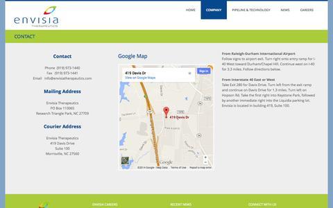 Screenshot of Contact Page envisiatherapeutics.com - CONTACT   Envisia - captured Nov. 5, 2014