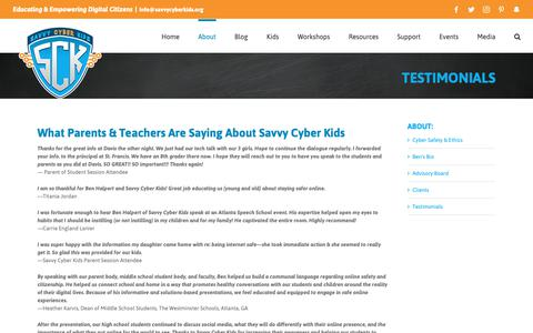 Screenshot of Testimonials Page savvycyberkids.org - Testimonials – Savvy Cyber Kids - captured Nov. 6, 2018
