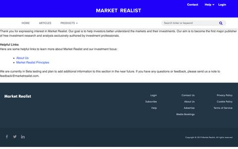 Screenshot of About Page marketrealist.com - About - Market Realist - captured May 26, 2019