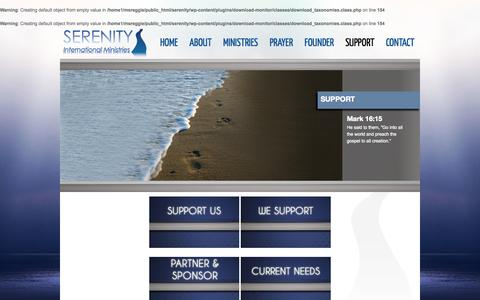 Screenshot of Support Page serenityim.org - Support | Serenity International Ministries - captured Oct. 26, 2014