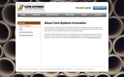 Screenshot of About Page corecutting.com - About Core Systems - captured Oct. 3, 2014