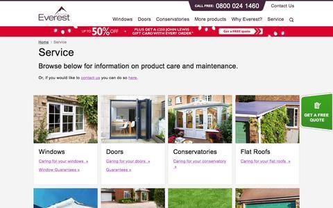 Screenshot of Support Page everest.co.uk - Service | Everest - captured Nov. 20, 2015