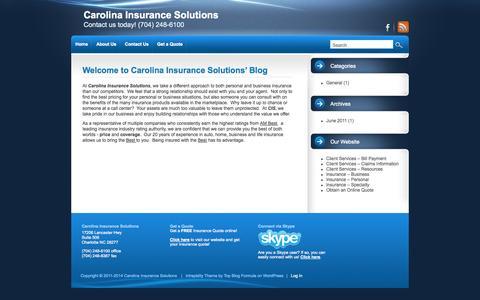 Screenshot of Blog carolinainsurancesolutions.com - Contact us today! (704) 248-6100 - captured Oct. 2, 2014