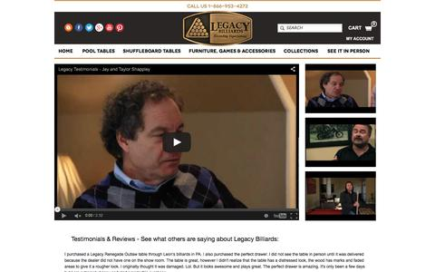 Screenshot of Testimonials Page legacybilliards.com - Testimonials & Reviews | Legacy Billiards - captured Dec. 8, 2015