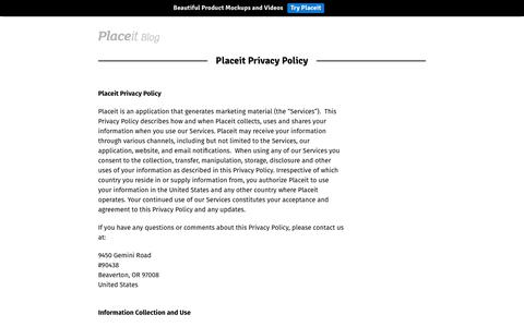 Screenshot of Privacy Page placeit.net - Placeit Privacy Policy - Placeit Blog - captured Aug. 12, 2017