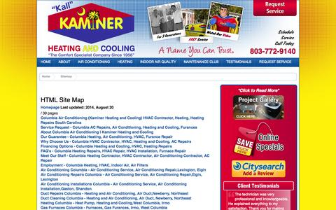 Screenshot of Site Map Page kaminerhac.com - Sitemap - Columbia Cooling, Air Conditioner Unit, HVAC Unit, Indoor Air, HEPA Filters - captured Oct. 1, 2014
