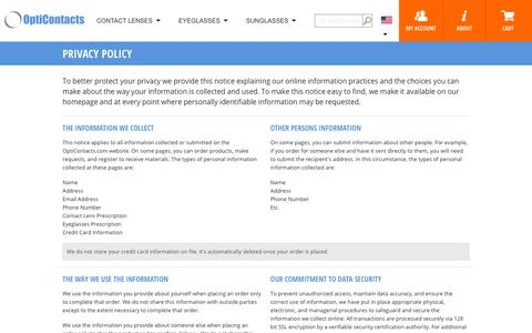 Screenshot of Privacy Page opticontacts.com - OptiContacts.com -- Privacy Policy - captured Sept. 23, 2018