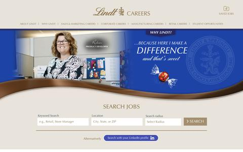 Screenshot of Jobs Page lindtusa.com - Search our Job Opportunities at LINDT & SPRUNGLI USA - captured Sept. 27, 2018