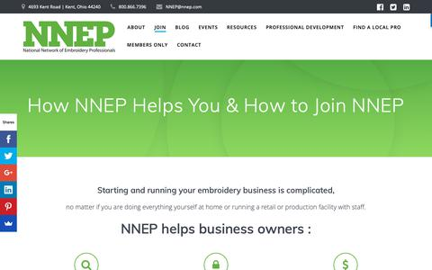 Screenshot of Signup Page nnep.com - How NNEP Helps You & How to Join NNEP - National Network of Embroidery Professionals - captured Oct. 18, 2018