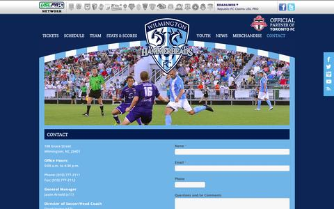 Screenshot of Contact Page wilmingtonhammerheads.com - Contact Us | Wilmington Hammerheads FC - captured Oct. 1, 2014