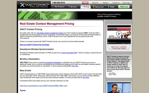 Screenshot of Pricing Page ixactcontact.com - IXACT Contact Pricing | IXACT Contact Free Trial - captured Sept. 22, 2014