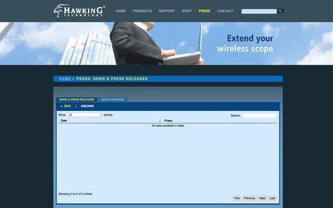 Screenshot of Press Page hawkingtech.com - Hawking Technology: High Performance Wireless Technology - captured Nov. 1, 2016