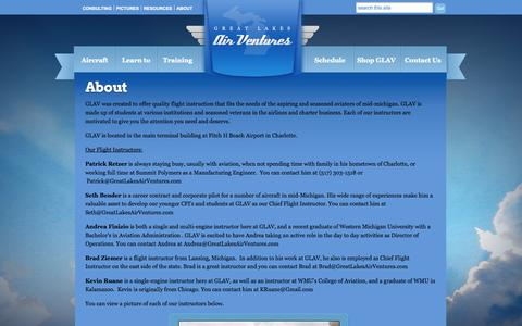 Screenshot of About Page greatlakesairventures.com - About   Great Lakes Air Ventures - captured Sept. 30, 2014