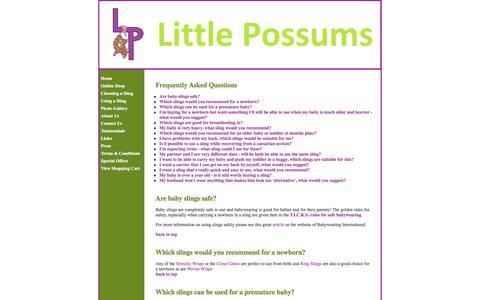 Screenshot of FAQ Page littlepossums.co.uk - Little Possums - Frequently Asked Questions - captured June 15, 2016