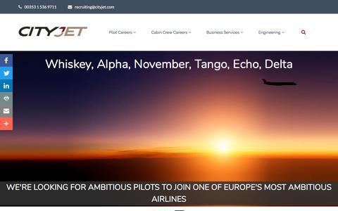 Screenshot of Jobs Page cityjet.com - CityJet Careers, Airline Jobs - Office, Pilot & Cabin Crew Jobs - captured July 17, 2018