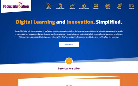 Screenshot of Home Page focuseduvation.com - Digital Learning Content Development & e-Learning Solutions - captured Aug. 3, 2015