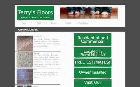 Screenshot of Products Page terrysfloors.com - Products - captured Feb. 25, 2016