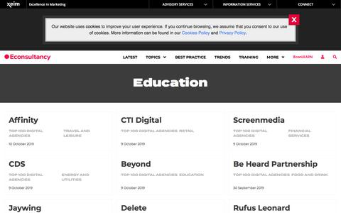Screenshot of Home Page econsultancy.com - Education Archives – Econsultancy - captured Feb. 16, 2020