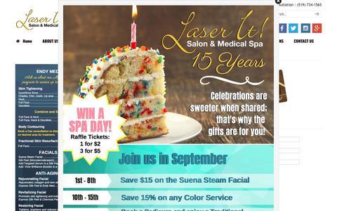 Screenshot of Pricing Page laser-it.ca - Pricing | Laser It Salon & Medical Spa | Windsor | waxing | manicure | massage - captured Sept. 27, 2018