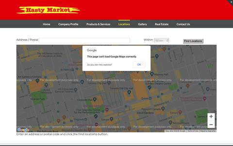 Screenshot of Locations Page hastymarketcorp.com - Locations – Hasty Market Corp - captured Nov. 4, 2018