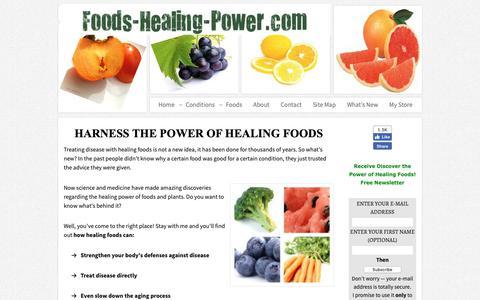 Screenshot of Home Page foods-healing-power.com - The Power of Healing Foods - captured Oct. 19, 2018