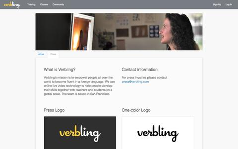 Screenshot of Press Page verbling.com - Verbling: Online language classes and private tutoring - captured July 15, 2015