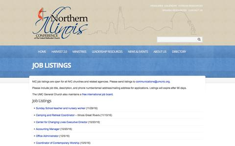 Screenshot of Jobs Page umcnic.org - Job Listings  |  Northern Illinois Annual Conference | Vital Christians, Vital Churches, Changing Communities - captured Nov. 30, 2016