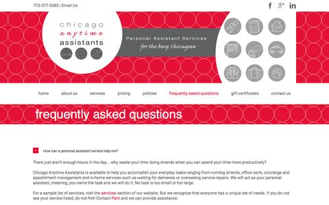 Screenshot of FAQ Page chicagoanytimeassistants.com - Frequently Asked Questions | Chicago Anytime Assistants - captured Dec. 8, 2015