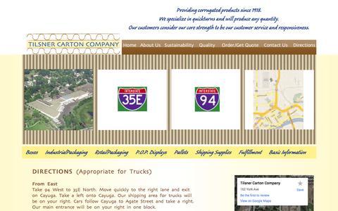 Screenshot of Maps & Directions Page tilsner-carton.com - Tilsner Carton Company Directions| Corrugated | Custom Packaging | Minneapolis | St. Paul | Minnesota - captured Oct. 7, 2014