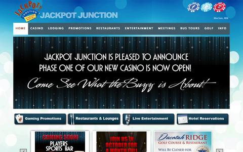 Screenshot of Home Page jackpotjunction.com - Jackpot Junction Casino Hotel - MN Casino in Morton, MN - Gambling, Hotel, Conventions, Meetings, Entertainment, Dinning, Golf |  Promotions, Entertainment, Hotel Deals & More - captured Oct. 6, 2014