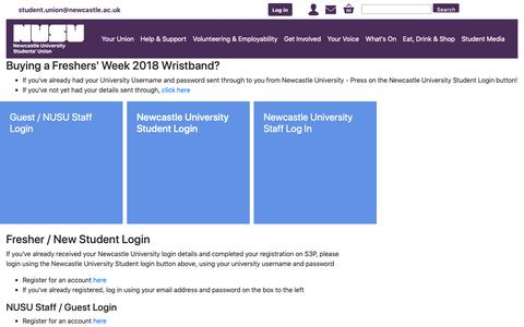Screenshot of Login Page nusu.co.uk - Login - captured Oct. 18, 2018