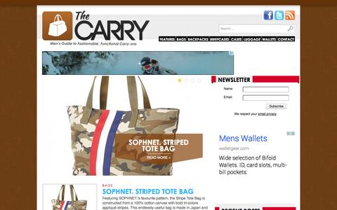Screenshot of Home Page thecarry.com - The Carry - Men's Bags, Backpacks, Luggage, Wallets, Cases, and Holders - captured Sept. 24, 2014