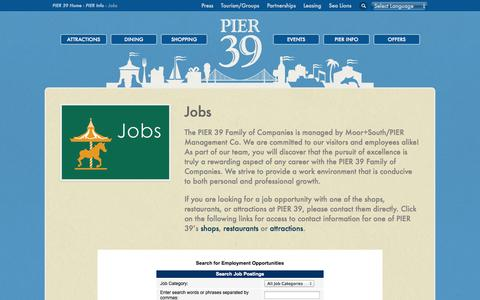 Screenshot of Jobs Page pier39.com - Jobs at PIER 39 in San Francisco | Job Opportunities - captured Sept. 19, 2014