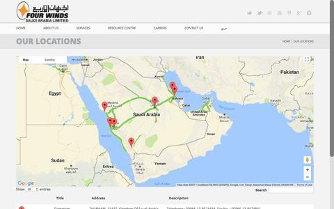 Screenshot of Locations Page fourwinds-ksa.com - Our Locations | Four Winds Saudi Arabia Limited - captured June 6, 2017