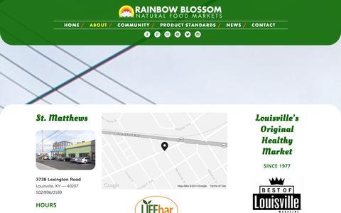 Screenshot of Locations Page rainbowblossom.com - Locations — Rainbow Blossom Natural Food Markets - captured Oct. 7, 2014