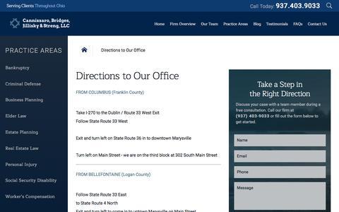Screenshot of Maps & Directions Page cfbjs.com - Directions to Our Office   Cannizzaro, Bridges, Jillisky & Streng, LLC - captured Oct. 21, 2016