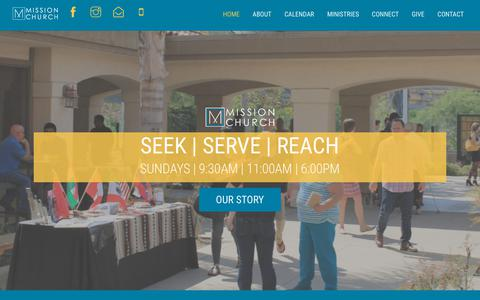 Screenshot of Home Page missionnaz.org - Mission Church – SEEK | SERVE | REACH - captured Oct. 18, 2018